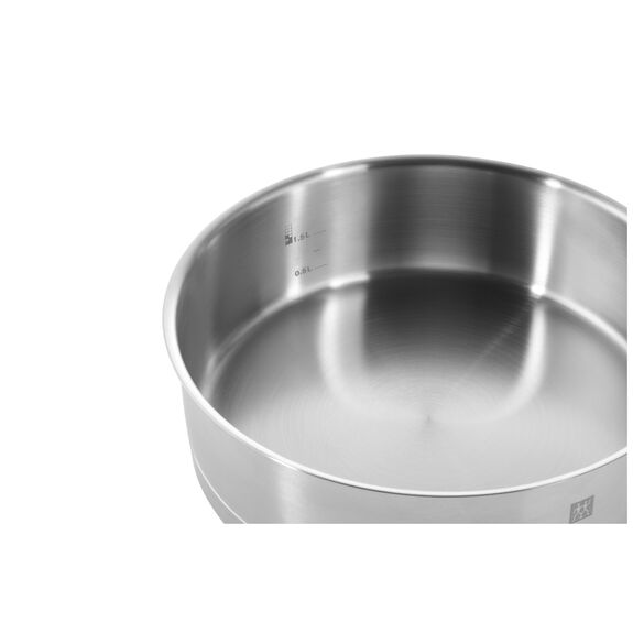 Paslamaz Çelik Uzun Saplı Tava , 45 cm x 25 cm | Yuvarlak | Metalik Gri,,large 2