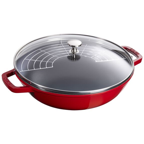 12-inch Enamel Wok with glass lid, Cherry,,large 3