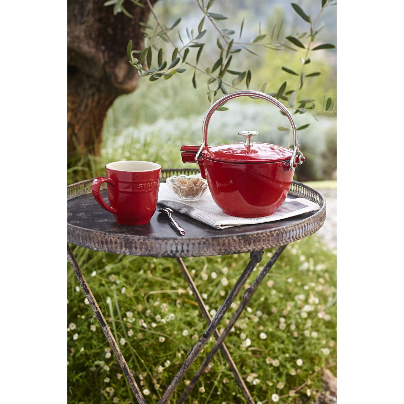 1.1 l Cast iron Tea pot, cherry,,large 7