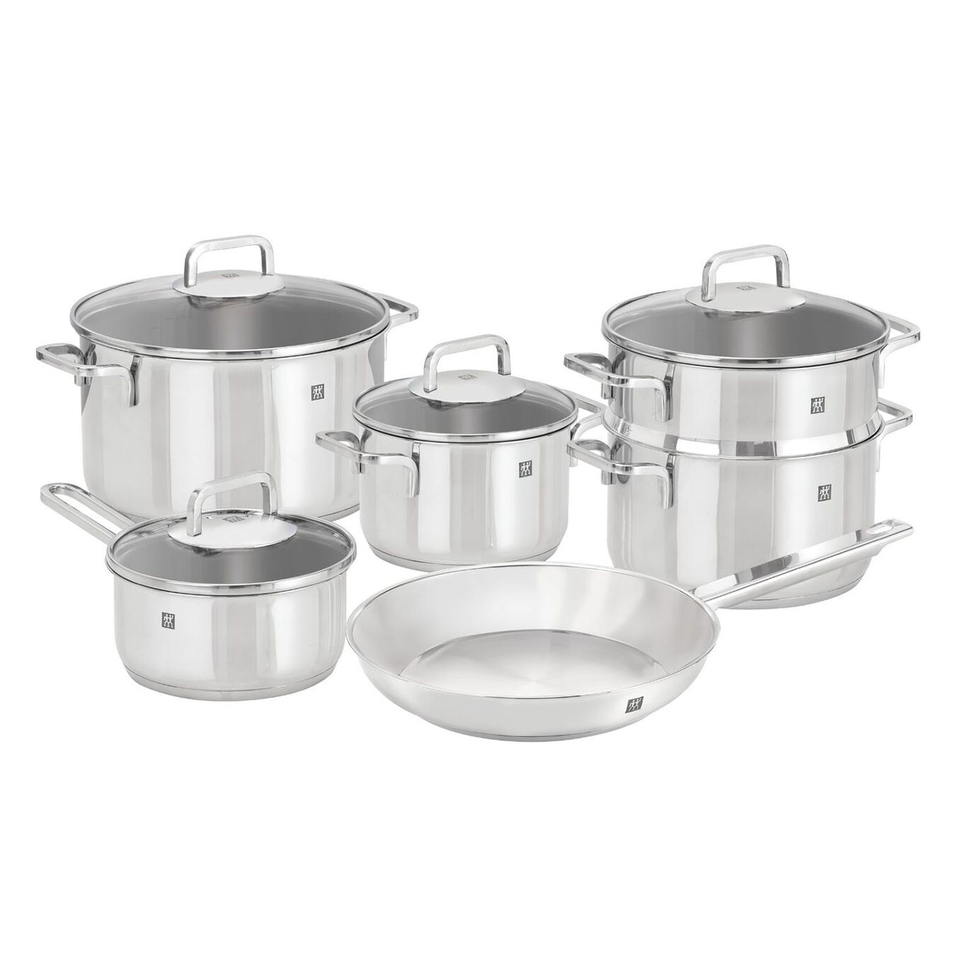10-pcs 18/10 Stainless Steel Ensemble de casseroles et poêles,,large 1