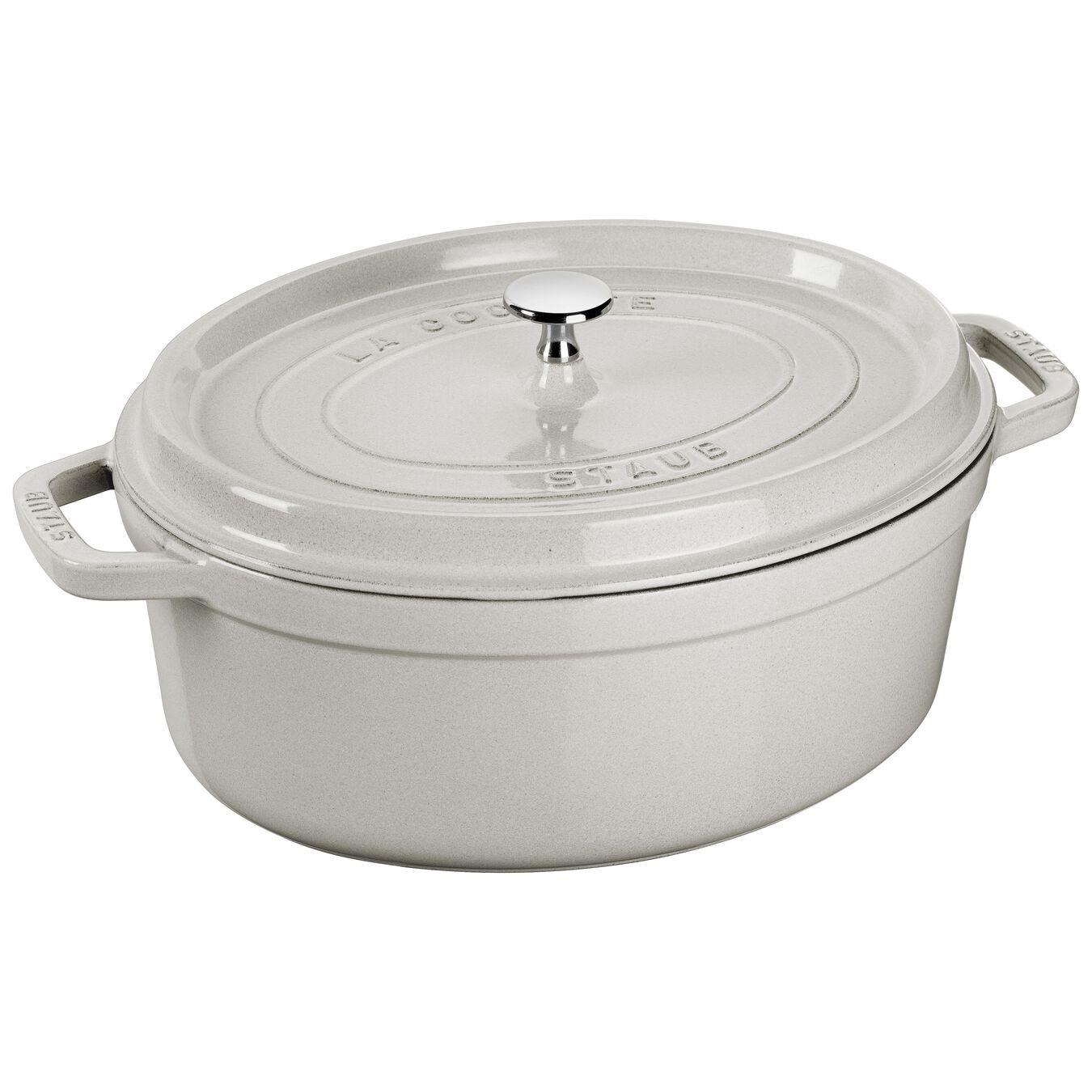 8 l Cast iron oval Cocotte, White Truffle,,large 1