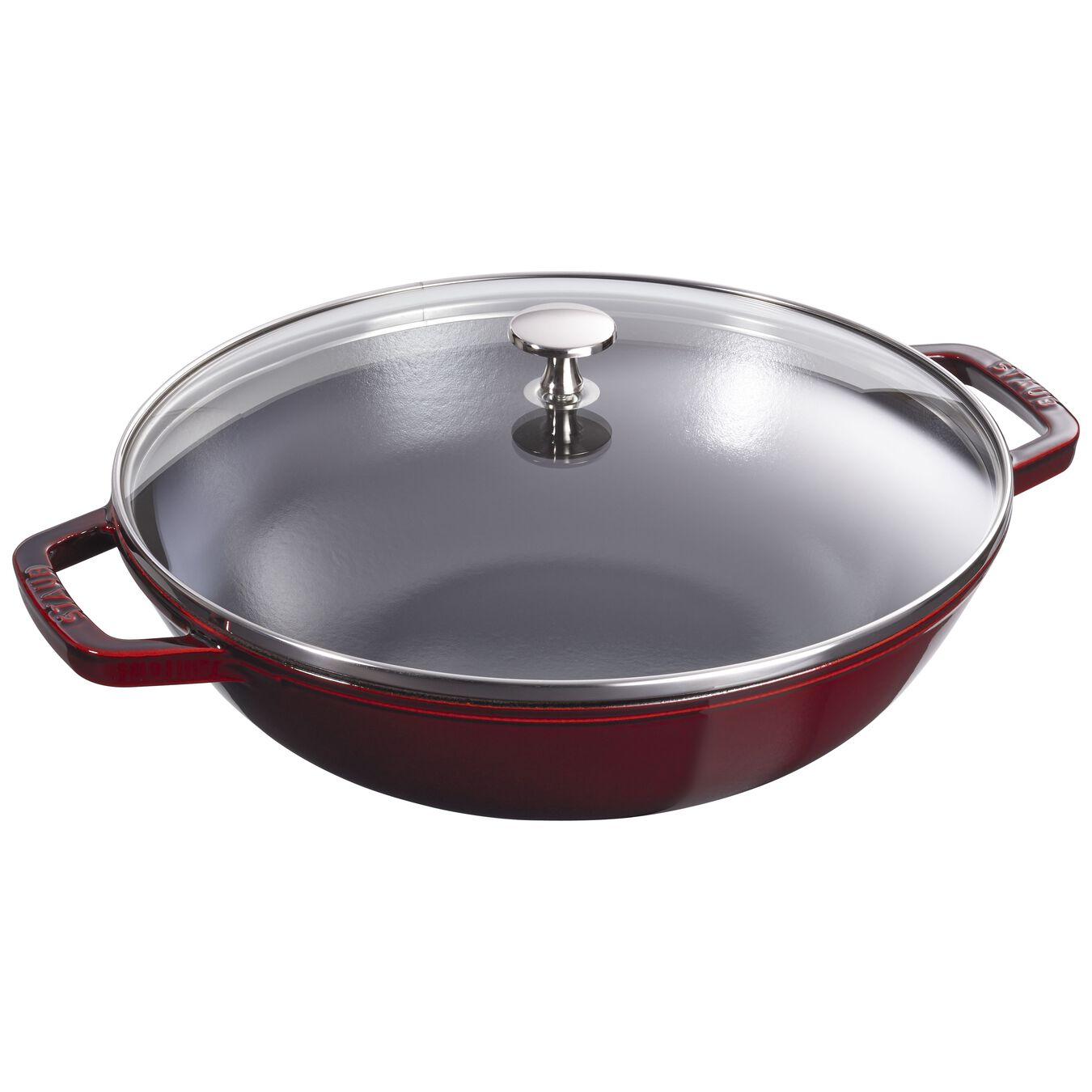 30 cm Cast iron Wok with glass lid, Grenadine-Red,,large 1