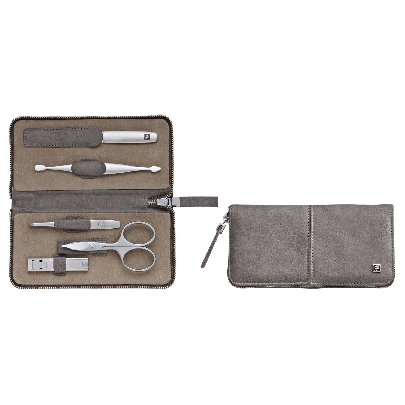 Zip fastener case, 5 Piece | Calf leather | Taupe,,large 1