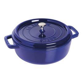 Staub Cast Iron, 4-qt Shallow Wide Round Cocotte - Dark Blue