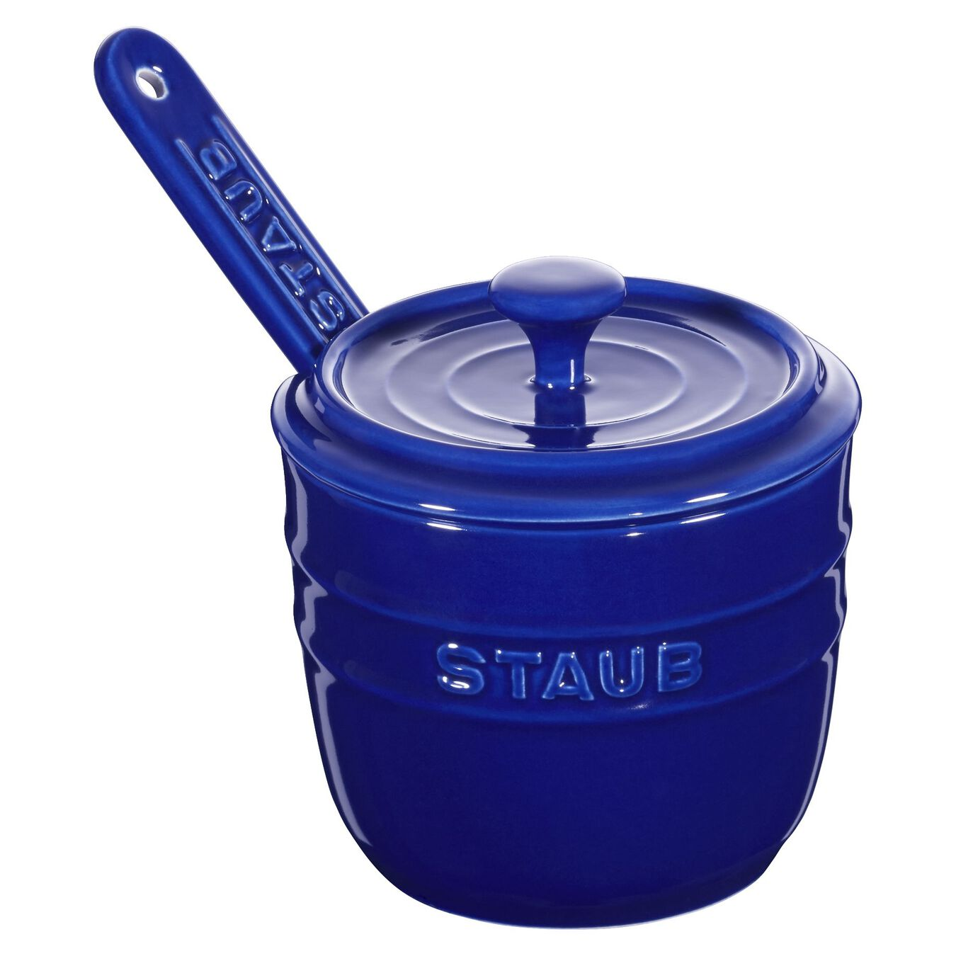 Zuccheriera con cucchiaino rotonda - 9 cm, blu scuro,,large 1