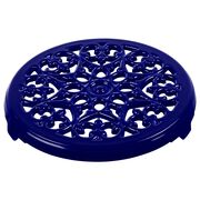 9-inch Round Lilly Trivet - Dark Blue,,large