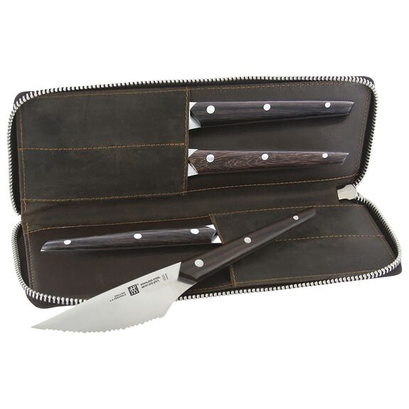 4-pc Gentlemen's Steak Knife Set with Leather Travel Case,,large