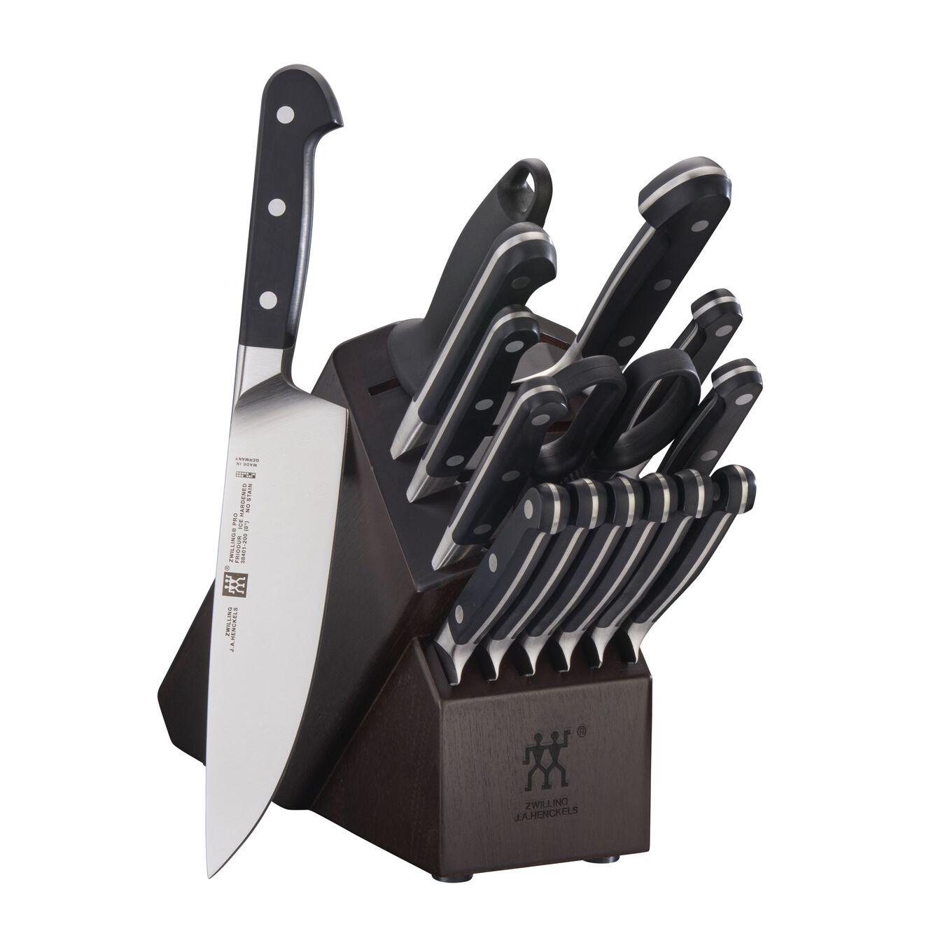 16-pc, Knife block set, walnut,,large 1