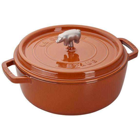 6-qt Cochon Shallow Wide Round Cocotte - Burnt Orange,,large