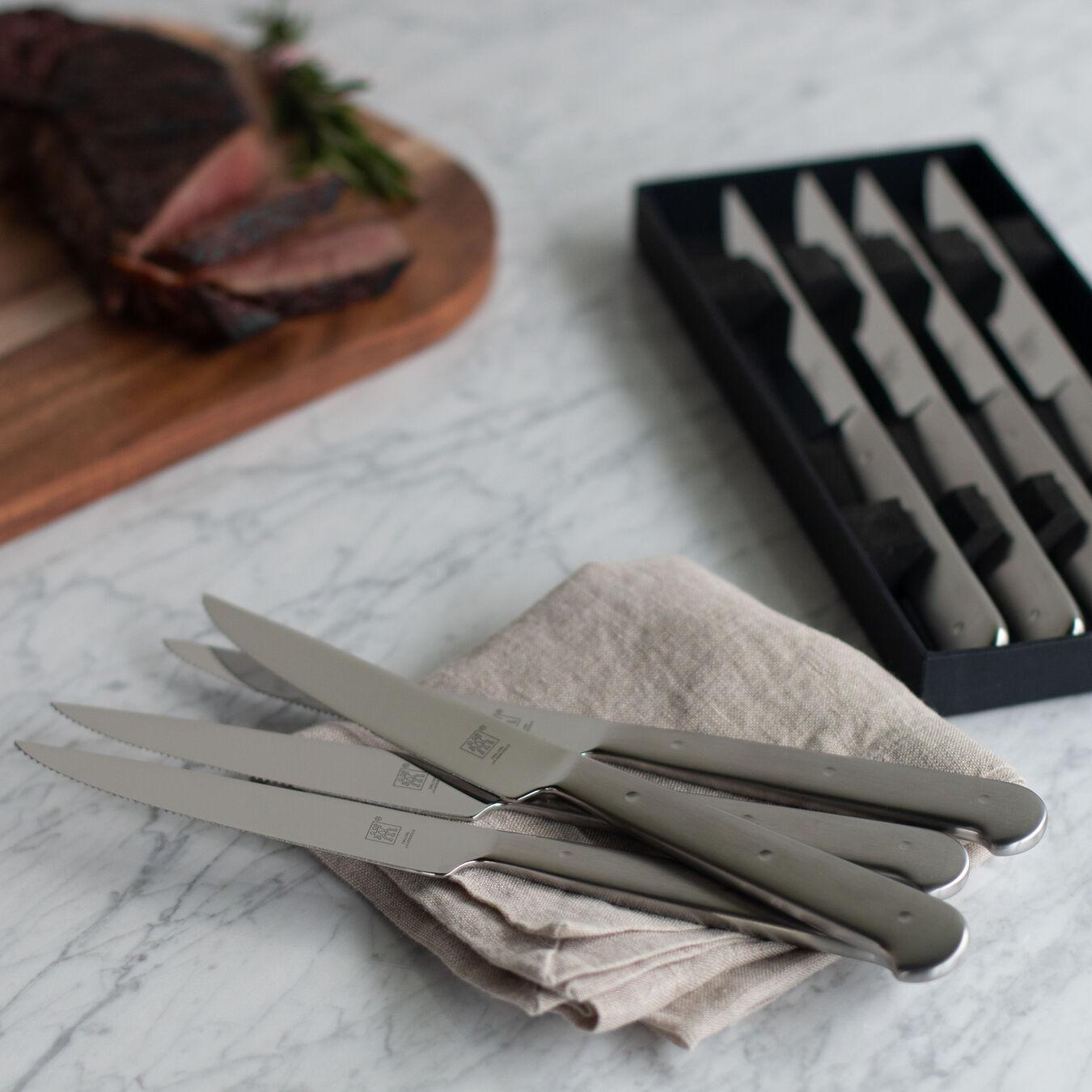 8-pc, stainless steel Porterhouse Steak Knife Set in Black Presentation Box,,large 7