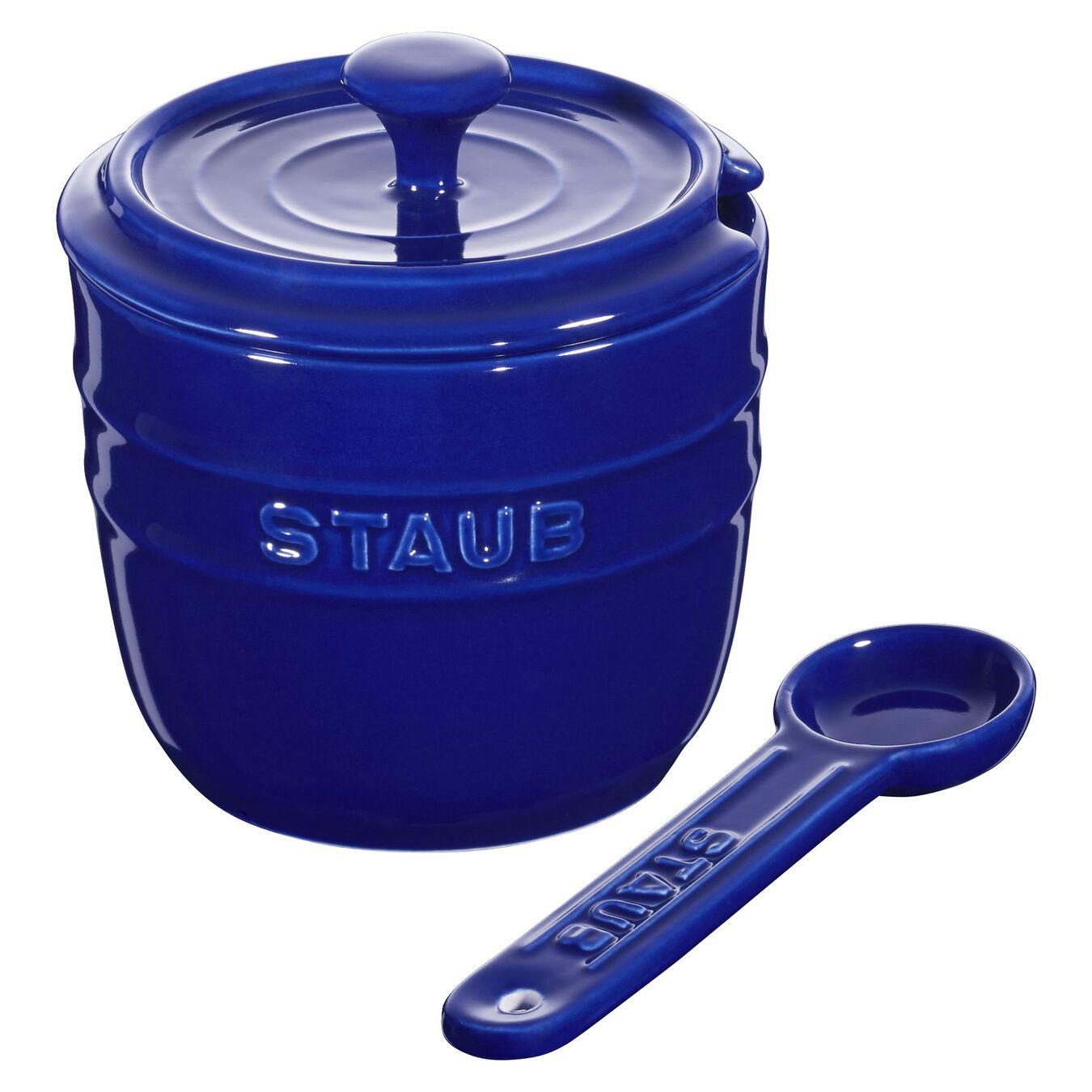 Zuccheriera con cucchiaino rotonda - 9 cm, blu scuro,,large 2