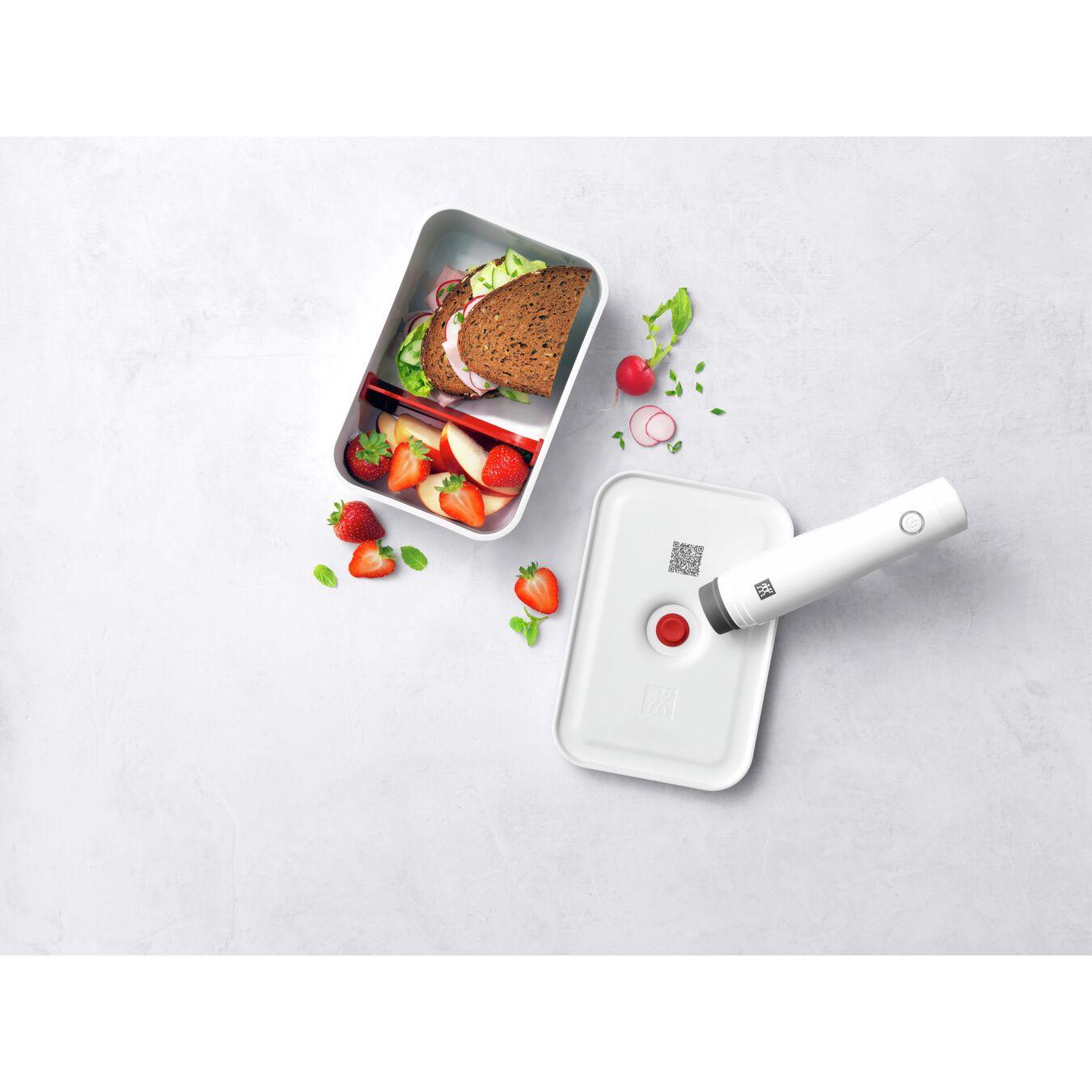 Lunch box sottovuoto, L, plastica, bianco-rosso,,large 5
