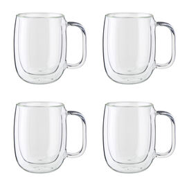 ZWILLING Sorrento Plus, 4-pc Double-Wall Glass Coffee Mug Set