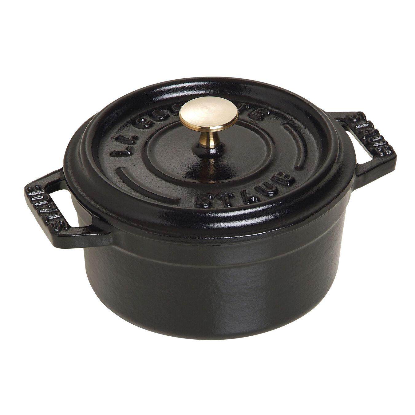 Mini cocotte rotonda - 10 cm, nero,,large 1