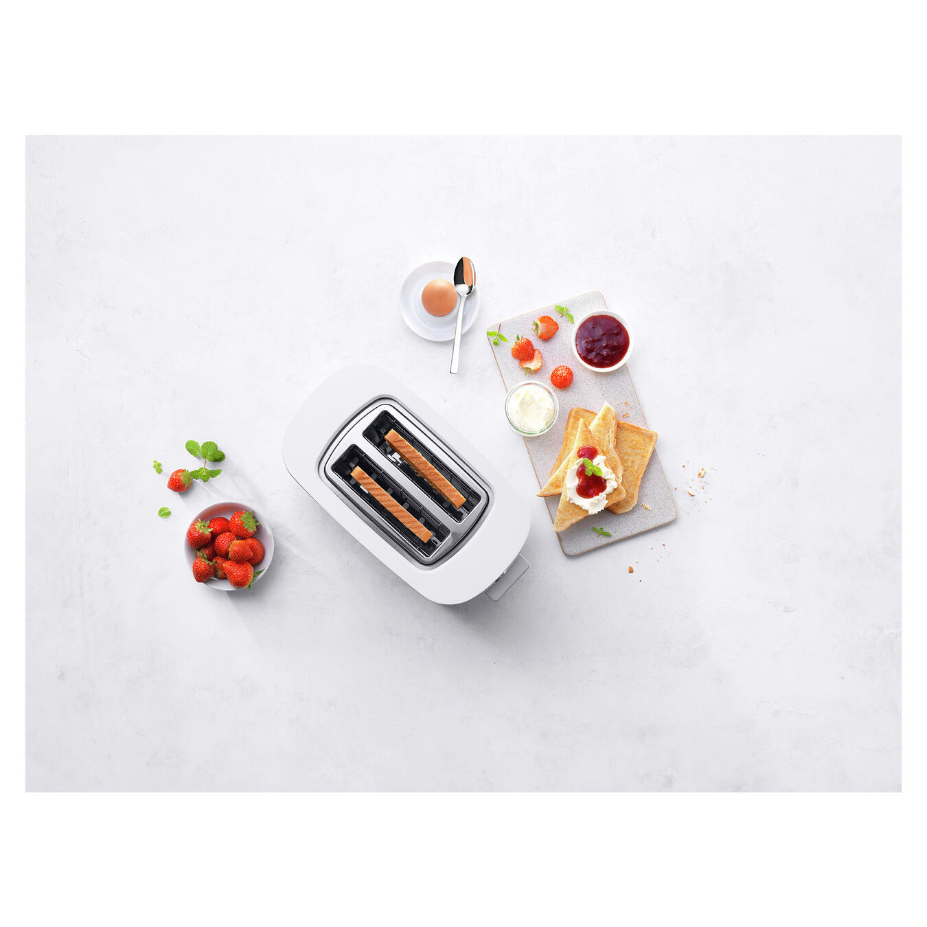 Toaster mit Brötchenaufsatz, 2 Schlitze kurz, Silber,,large 4