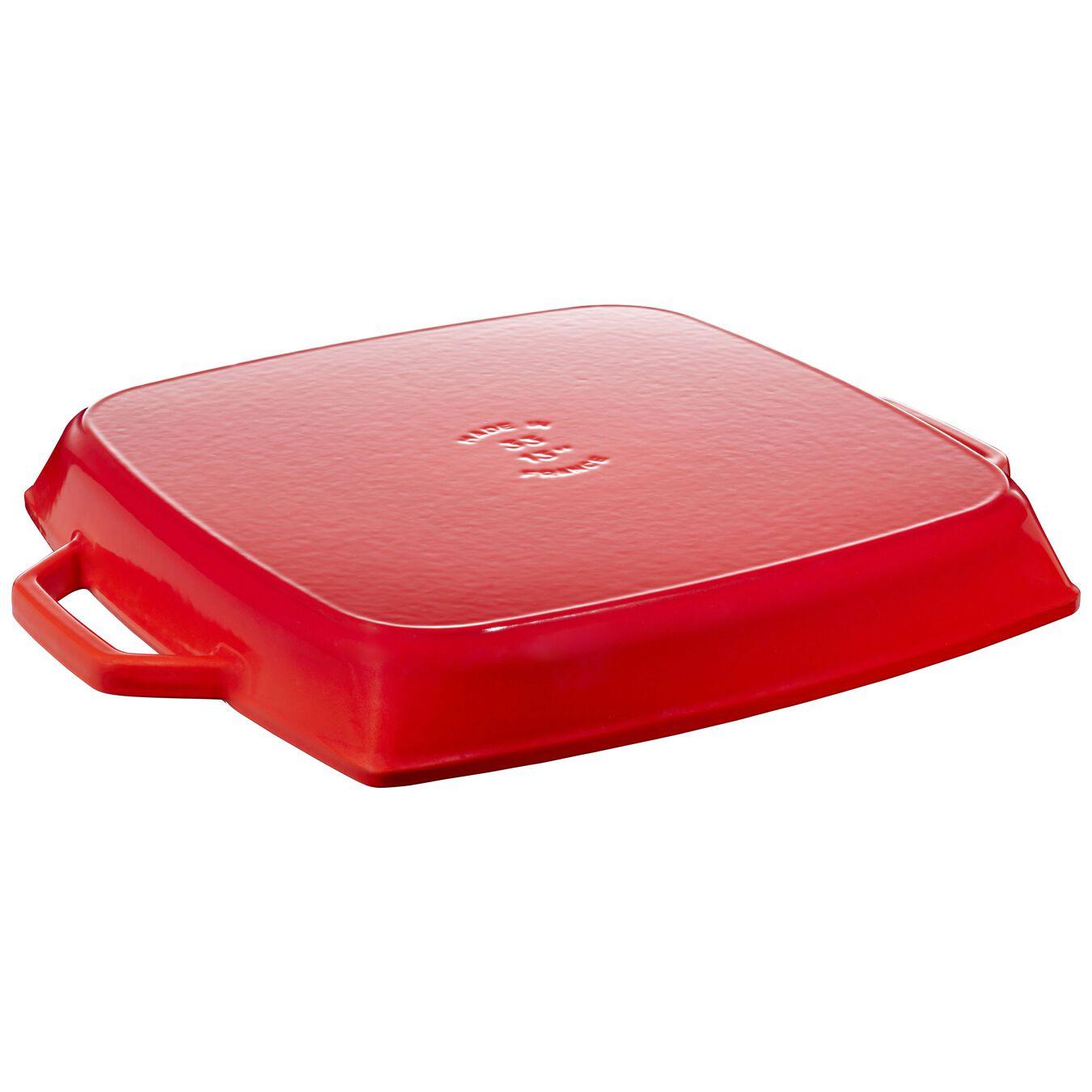 Grelha com duas alças 53 cm x 33 cm, Ferro fundido, Vermelho cereja,,large 2