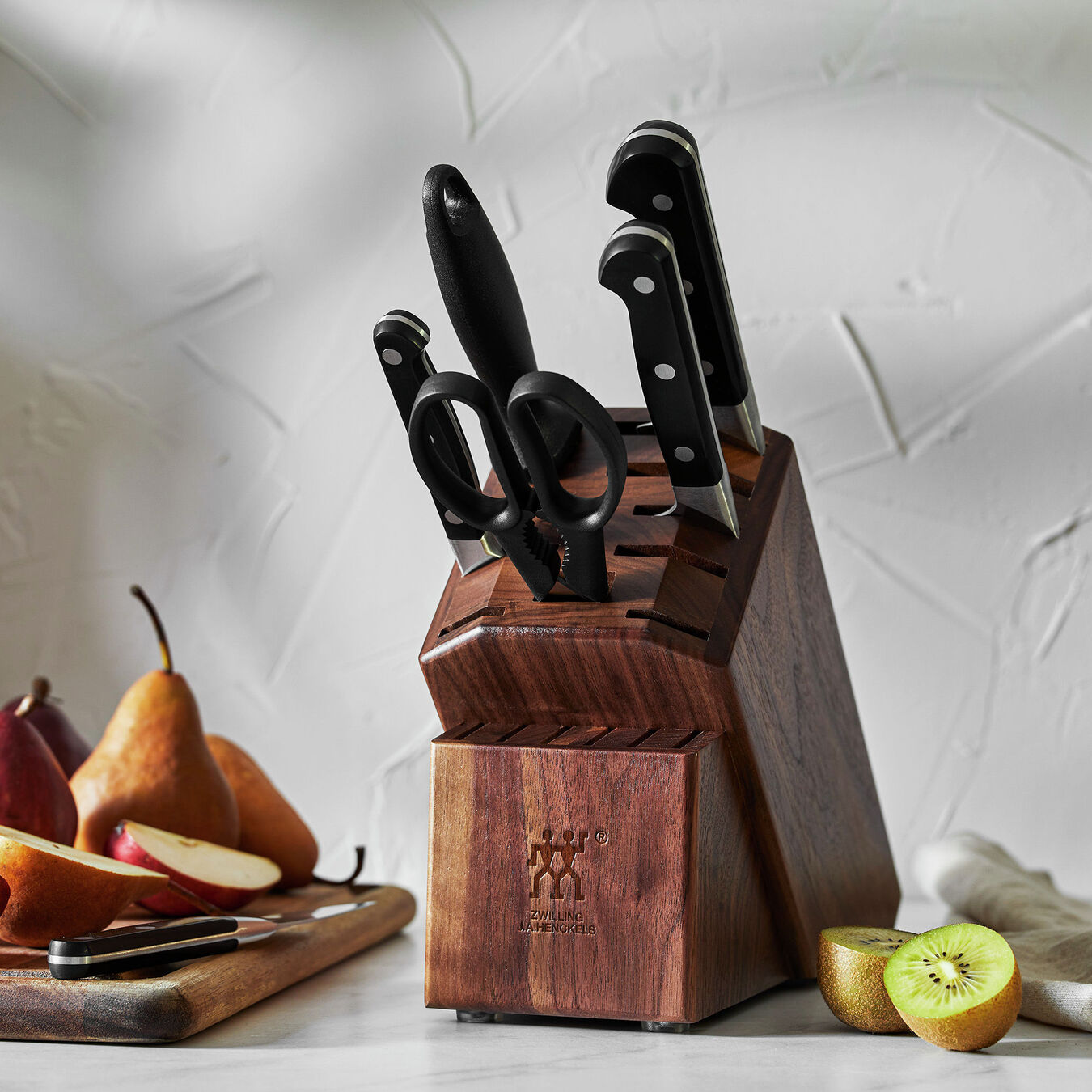 7-pc, Knife block set, walnut,,large 7