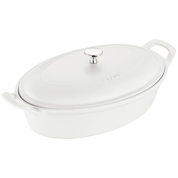 Ceramic Oval Covered Baking Dish, Matte White,,large