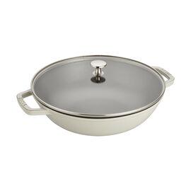 Staub Cast Iron - Woks/ Perfect Pans, 12-inch, Perfect Pan, white truffle
