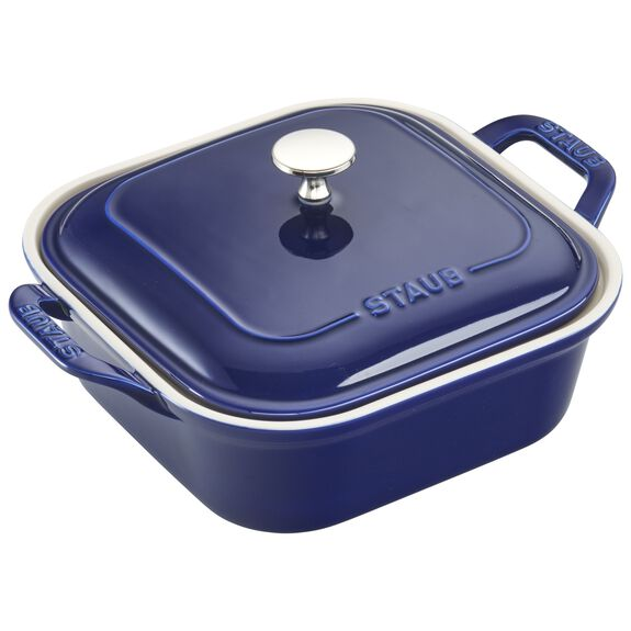 "9"" x 9"" Square Covered Baking Dish, Dark Blue, , large"
