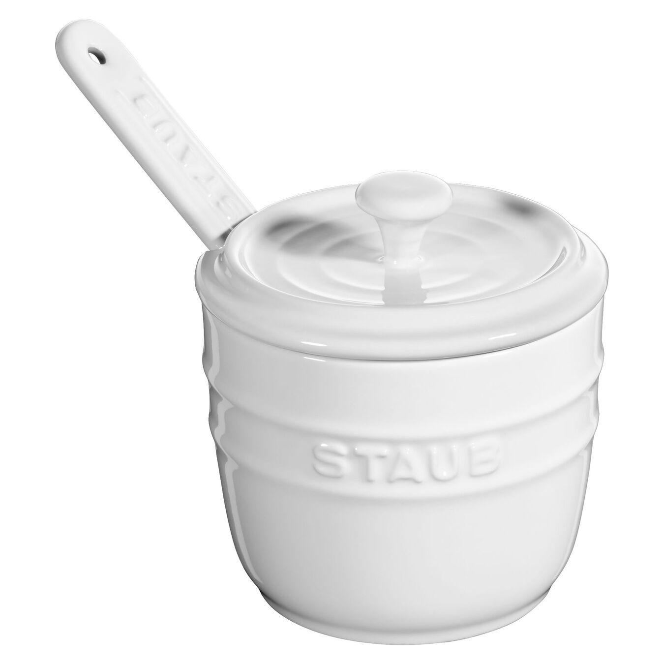 9 cm Ceramic round Sugar bowl, Pure-White,,large 2