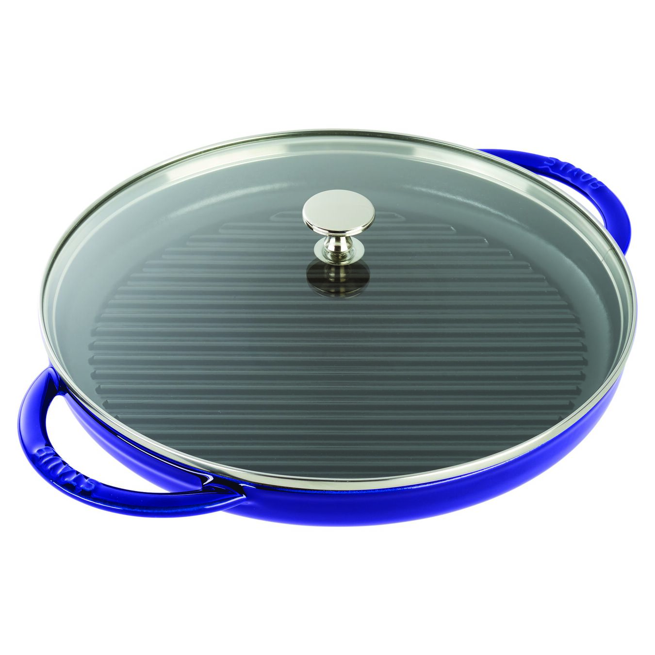 round, Grill pan with glass lid, dark blue,,large 2