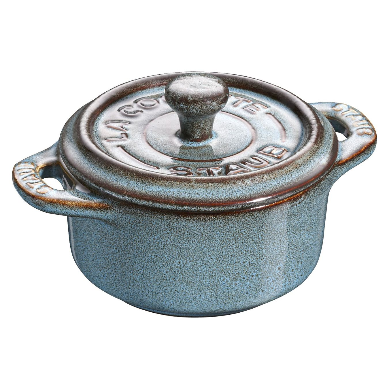 Mini Cocotte 10 cm, rund, Antik-Türkis, Keramik,,large 1