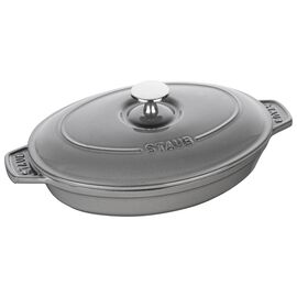 Staub Cast Iron, 9-inch, oval, Oven dish with lid, graphite grey