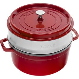Staub Cast iron, 5.25 l Cast iron round Cocotte with steamer, Cherry
