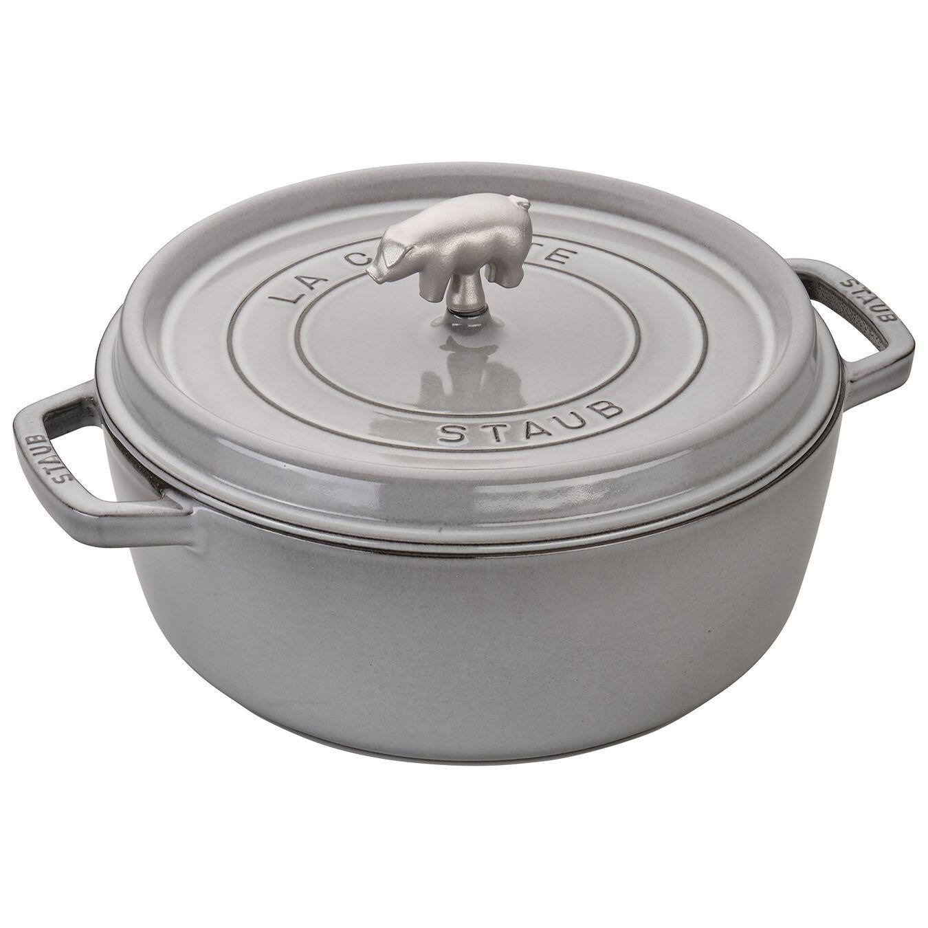 6 qt, Cochon Shallow Wide Round Cocotte, graphite grey,,large 2