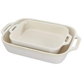 Staub Ceramics, 2-pc Rectangular Baking Dish Set, Rustic Ivory