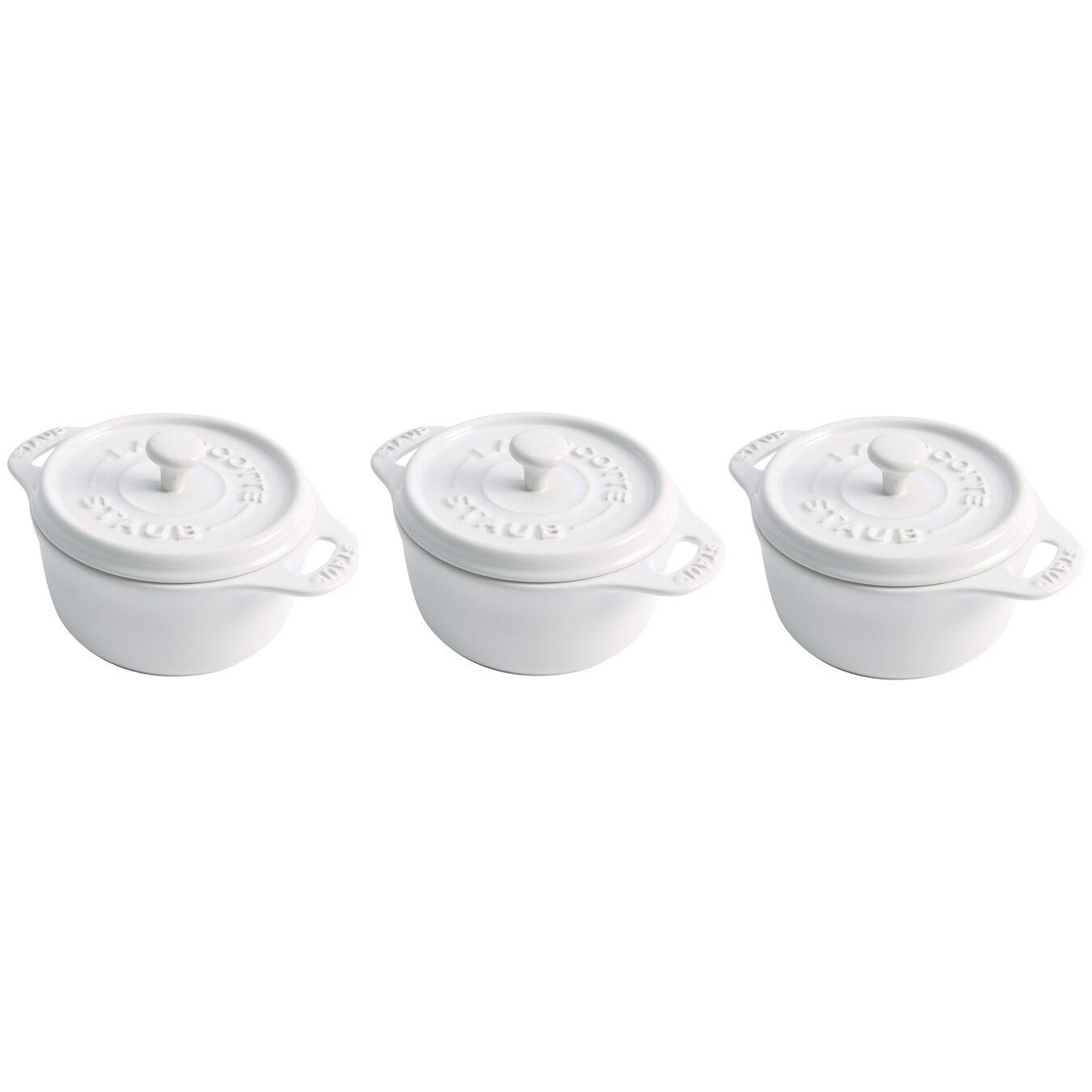 3-pcs Ceramic Set de cocottes, White,,large 1