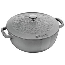 Staub Cast Iron, 9.45-inch round French oven lily, Graphite Grey
