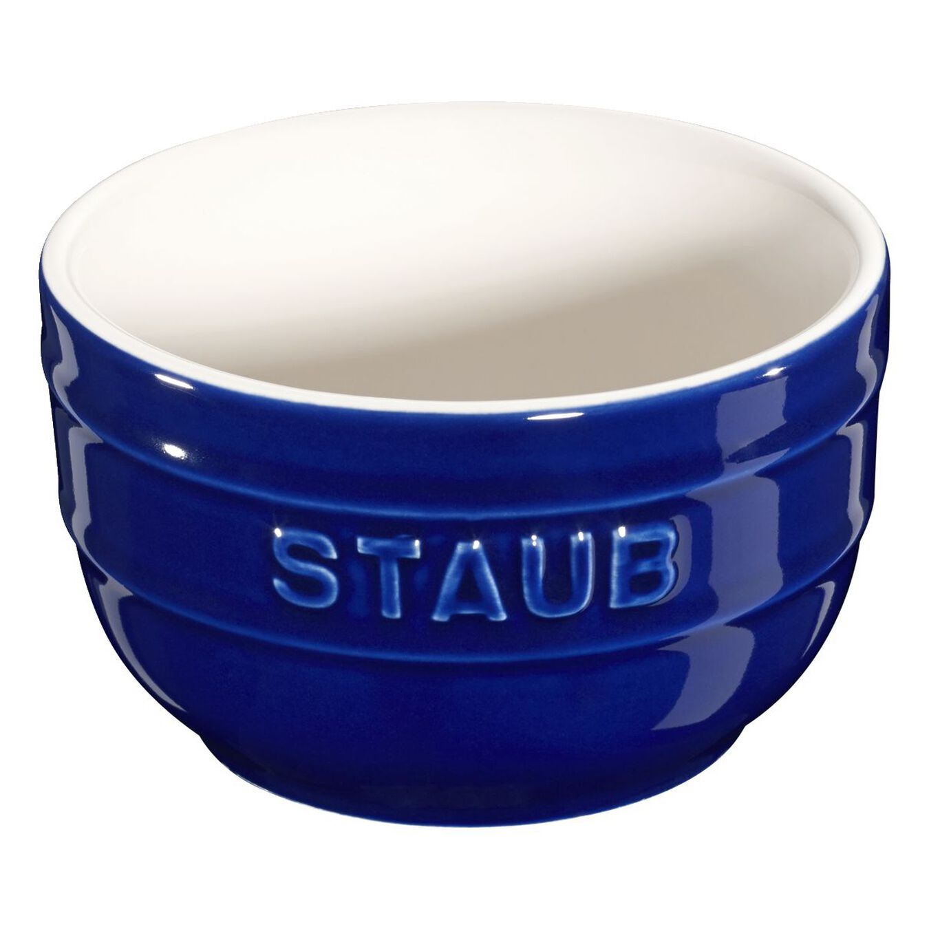 2 Piece Ceramic round Ramekin set, Dark-Blue,,large 1
