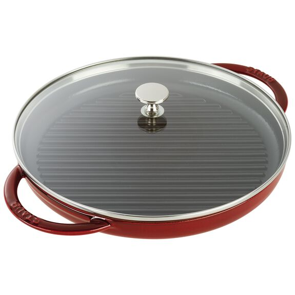 10-inch Enamel Grill pan with glass lid,,large