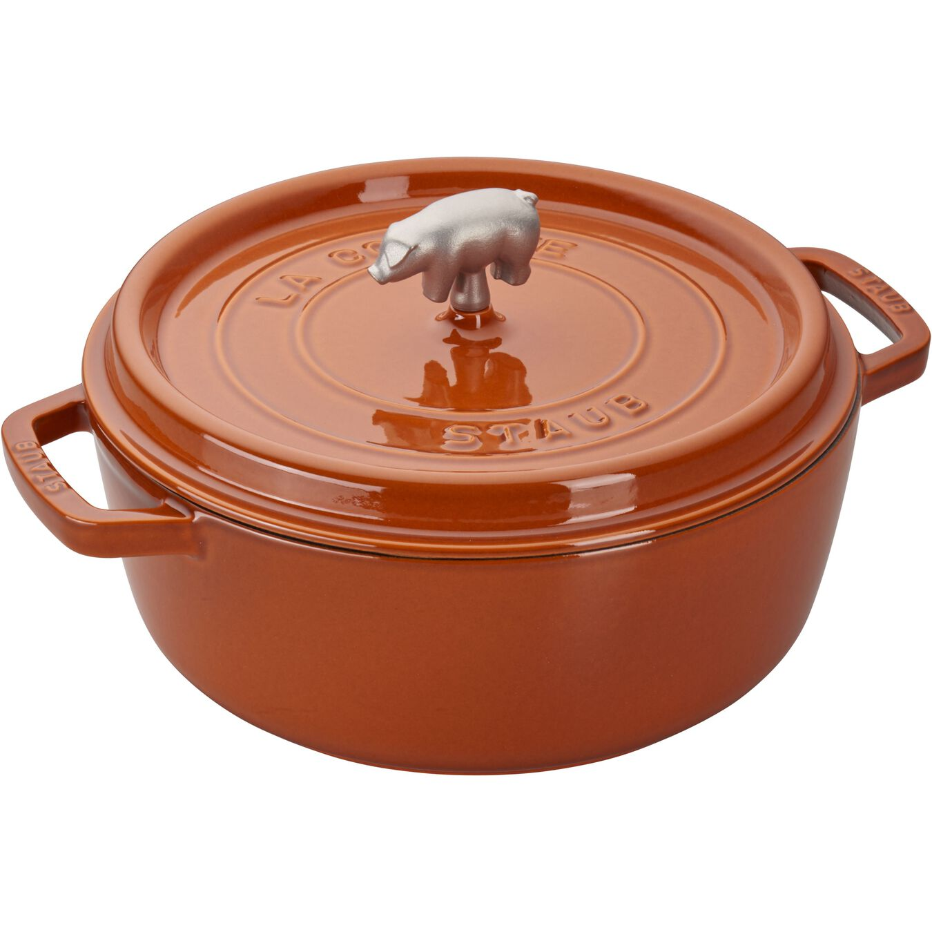 6-qt Cochon Shallow Wide Round Cocotte - Burnt Orange,,large 1
