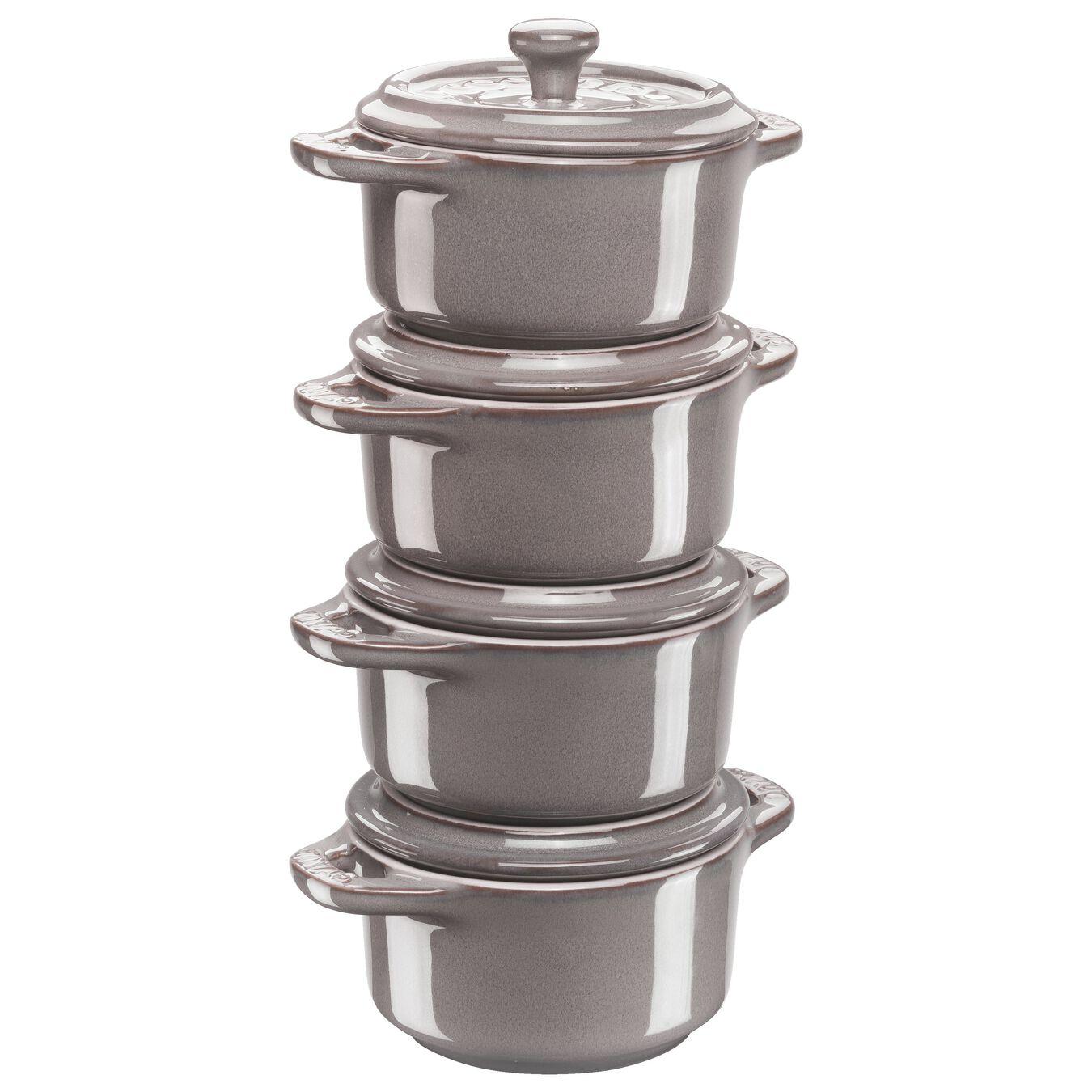 Cocotte Set 4-tlg, rund, Antik-Grau, Keramik,,large 1