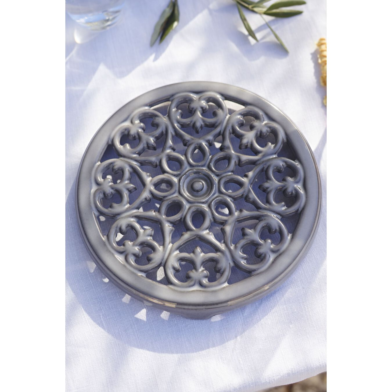 9-inch, round, Cast Iron Lilly Trivet, graphite grey,,large 2