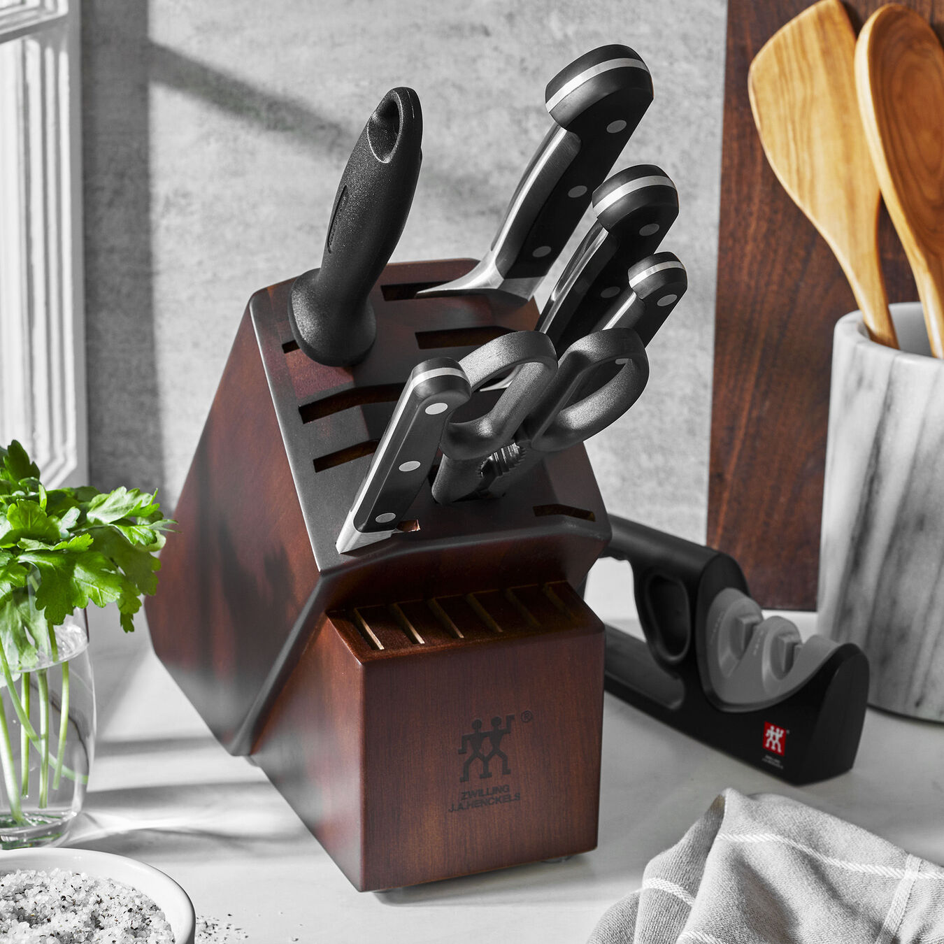 7-pc Knife Block Set with Bonus Sharpener,,large 2