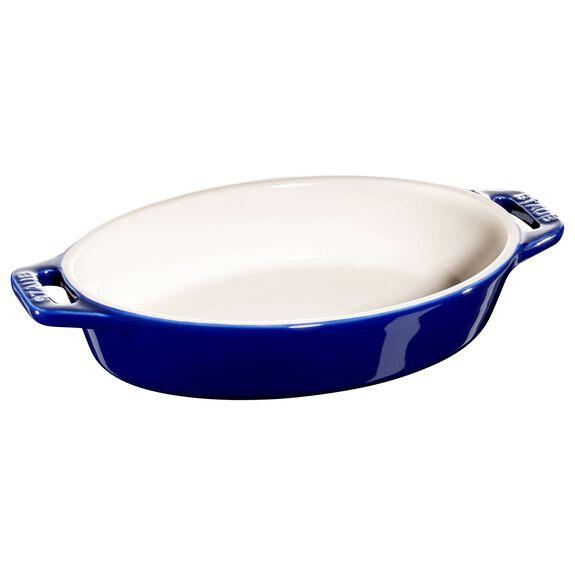 "6.5"" Oval Baking Dish, Dark Blue, , large"