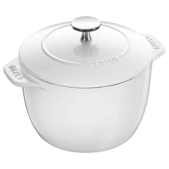 6.5-inch round Cast iron Rice Cocotte, White,,large