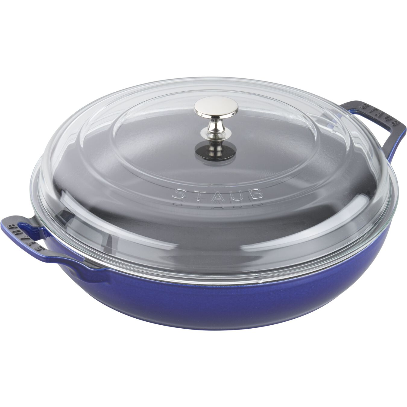 12-inch, Saute pan with glass lid, dark blue,,large 3