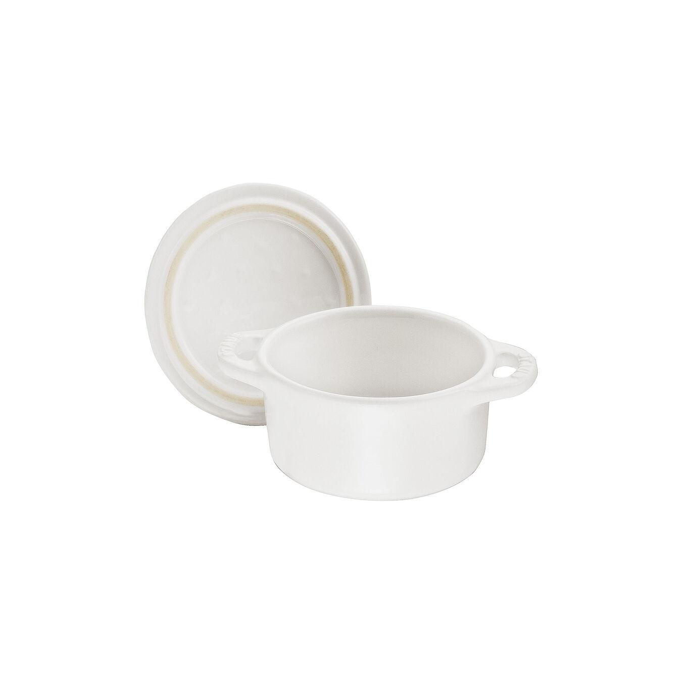 Mini Cocotte 10 cm, Rond(e), Blanc pur, Céramique,,large 5