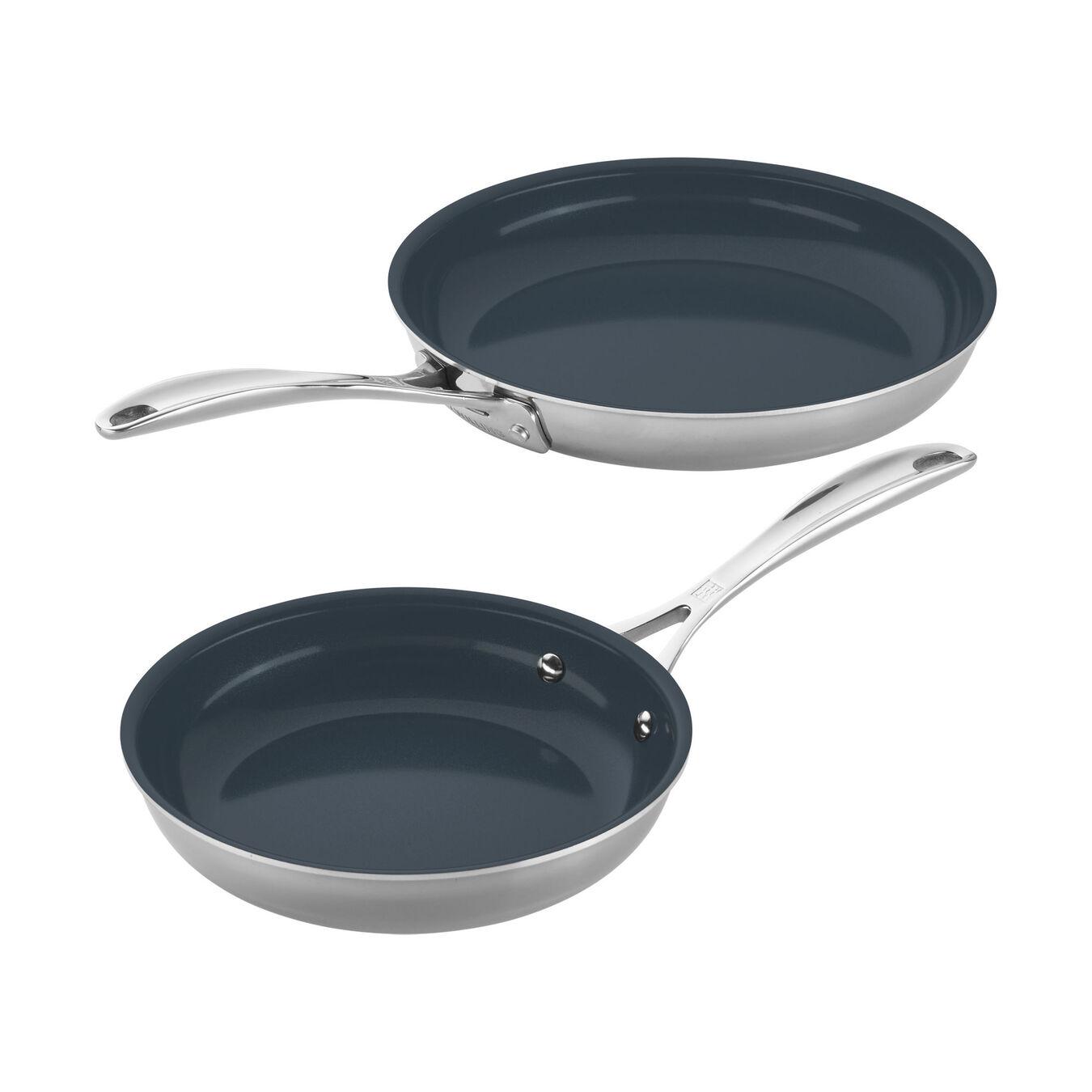 2-pc Stainless Steel Ceramic Nonstick Fry Pan Set,,large 1