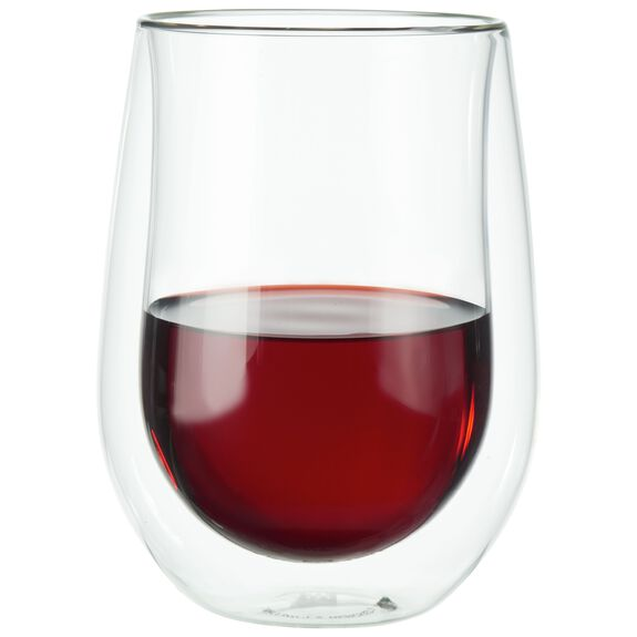 12 oz Double-Wall Glass Red Wine Glass 2-pc Set, , large