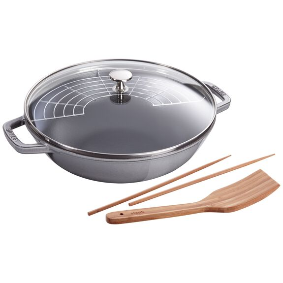 12-inch Enamel Wok with glass lid, Graphite Grey,,large 2