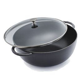 Staub Cast iron, 32 cm / 12.5 inch Glass Wok, black - Visual Imperfections