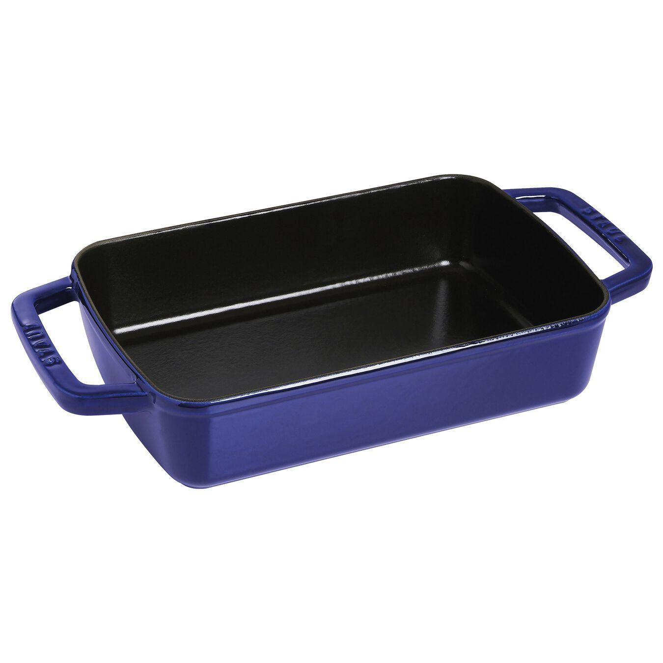 7.87 x 12-inch, square, Oven dish, dark blue,,large 1