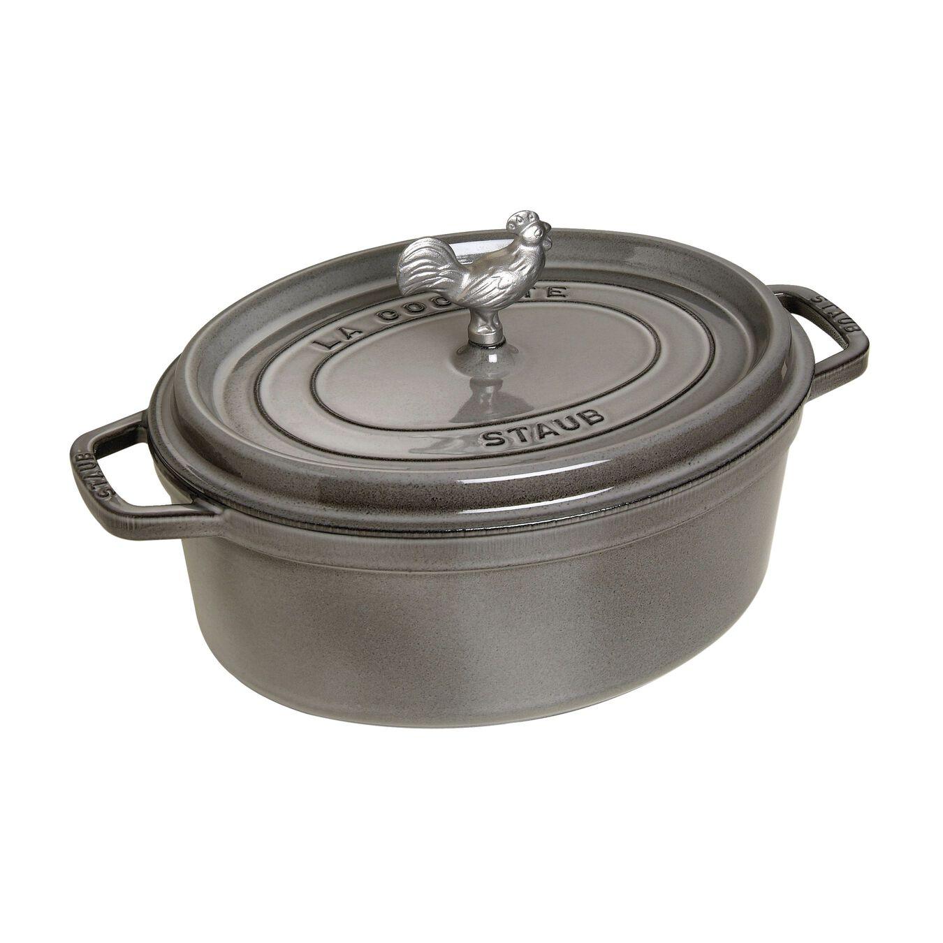 5.5 qt, oval, Coq au Vin Cocotte, graphite grey,,large 2