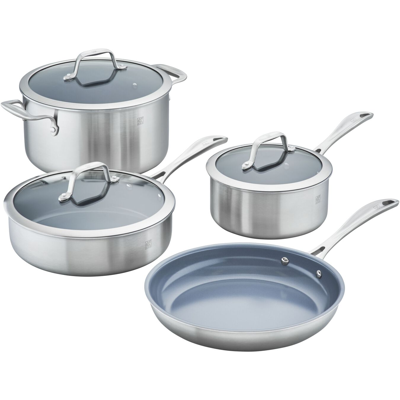 3-ply 7-pc Stainless Steel Ceramic Nonstick Cookware Set,,large 1